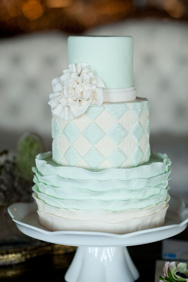 Mint Wedding Cake - Wedding Belles Blog