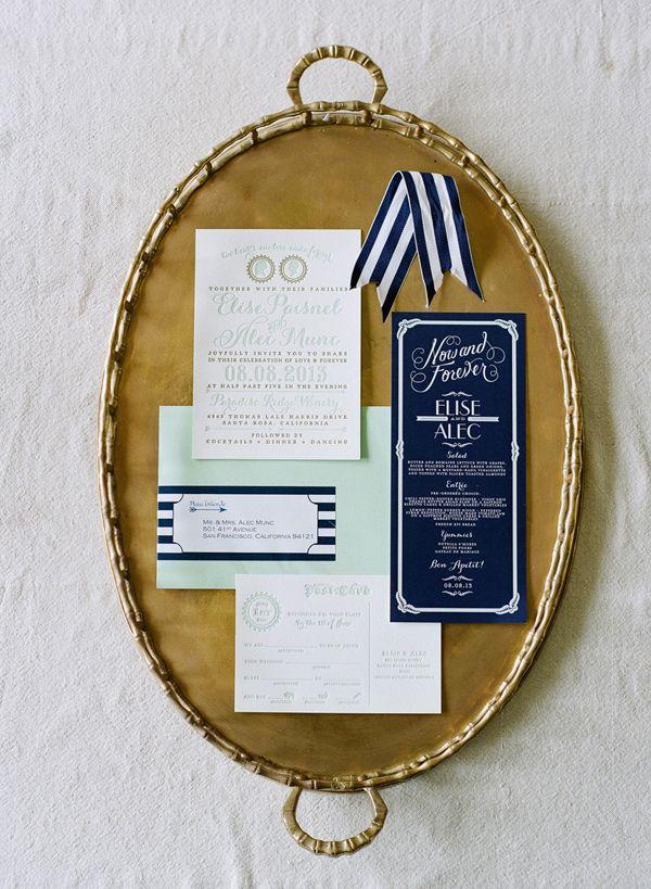 Navy + Mint Invitations - Wedding Belles Blog