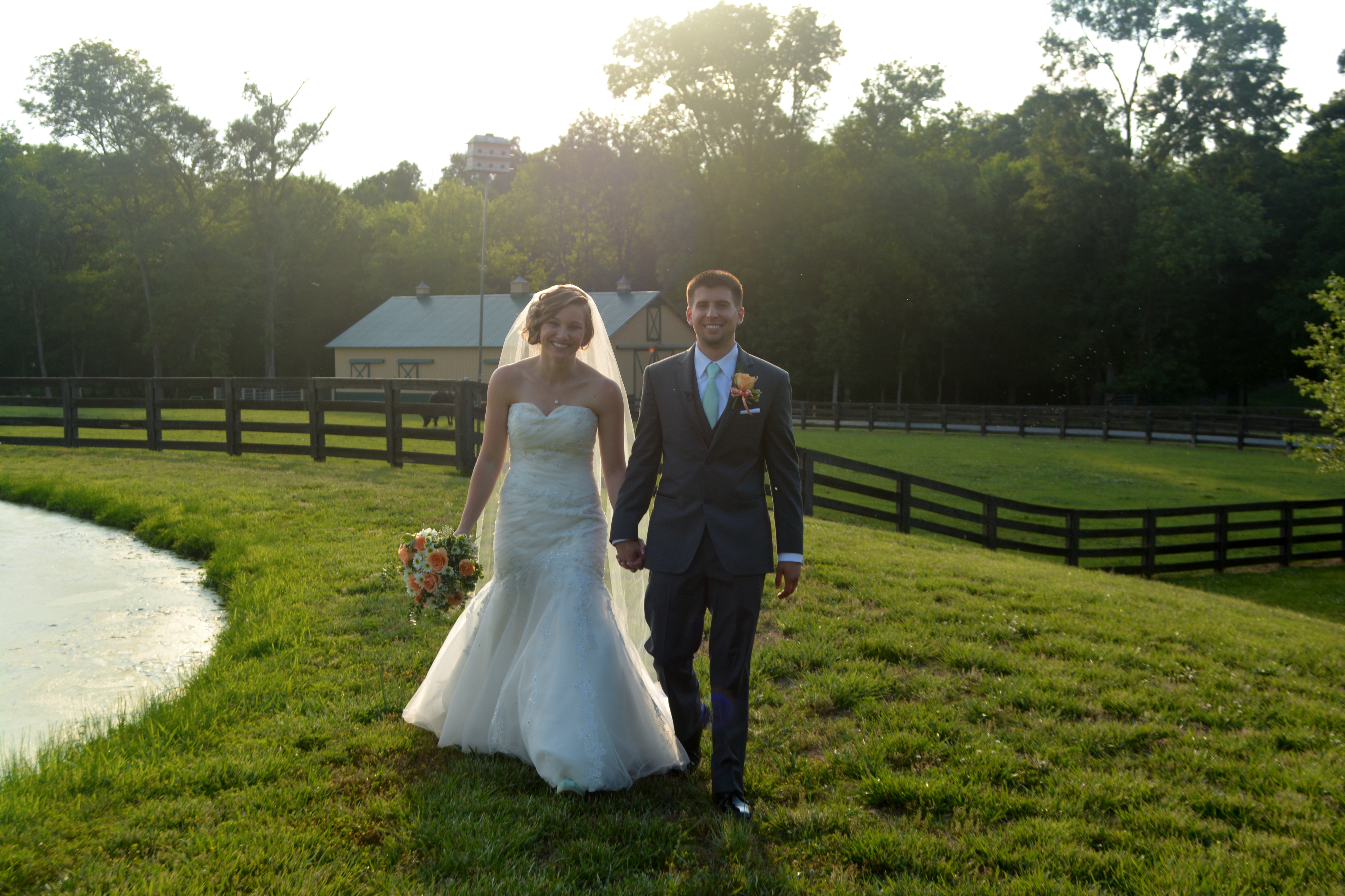 NC Farm Wedding with Accents of Apricot and Aqua
