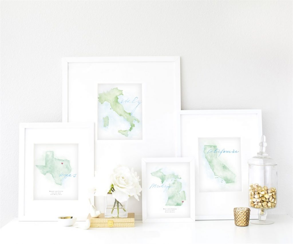 Hand-Painted Personalized Watercolor Maps by Beloved Paper - Fairly Southern