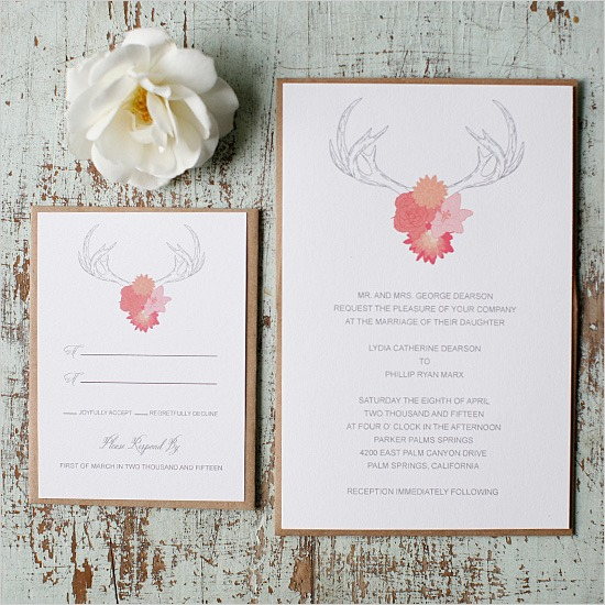 FREE Antlers Wedding Invitation Suite by Wedding Chicks - Fairly Southern