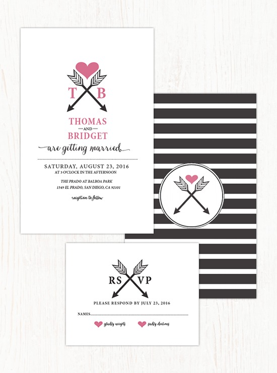 Arrowheart Wedding Invitation Suite by Wedding Chicks - Fairly Southern