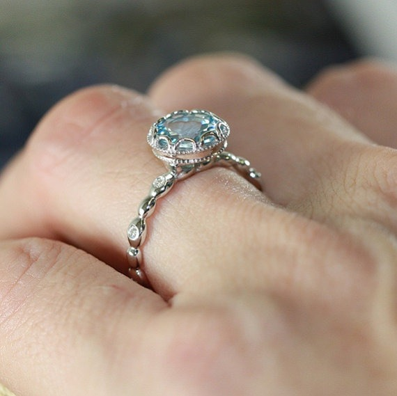 Floral Aquamarine Engagement Ring  |  Fairly Southern