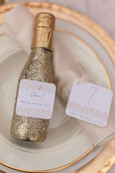 Mini Bottles of Champagne as Favors: Perfect for a New Year's Eve Wedding - Fairly Southern