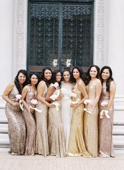 Glittery Bridesmaid Dresses: Perfect for a New Year's Eve Wedding - Fairly Southern
