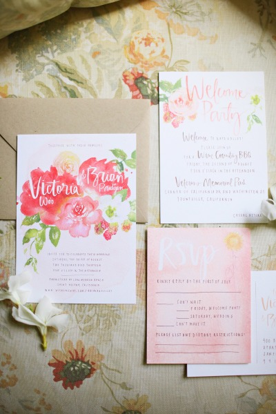 Pink Floral Watercolor Wedding Invitation Suite - Fairly Southern