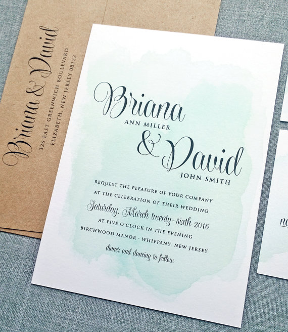 """Briana"" Watercolor Wedding Invitation - Fairly Southern"