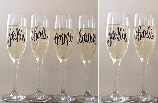 Personalized Champagne Flutes: An Adorable Bridesmaid Gift!