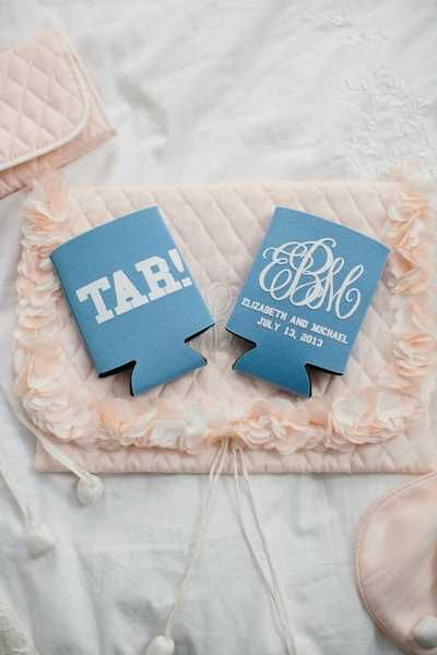 UNC-themed koozie wedding favor - Fairly Southern