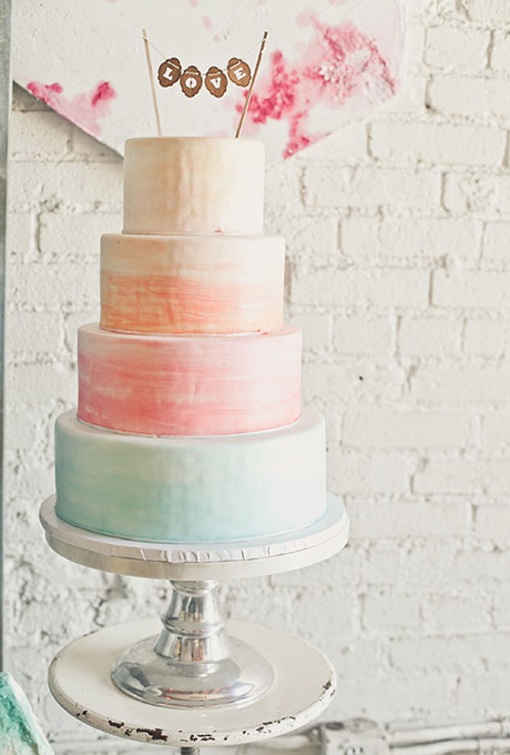 Watercolor Wedding Cake in Sherbert Tones - Fairly Southern