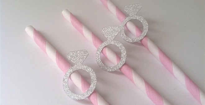 Glittery engagement ring paper straws...perfect for an engagement party, bridal shower, or bachelorette party! - Fairly Southern