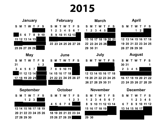 Wedding Blackout Dates for 2015, via Crabby Bride | Fairly Southern