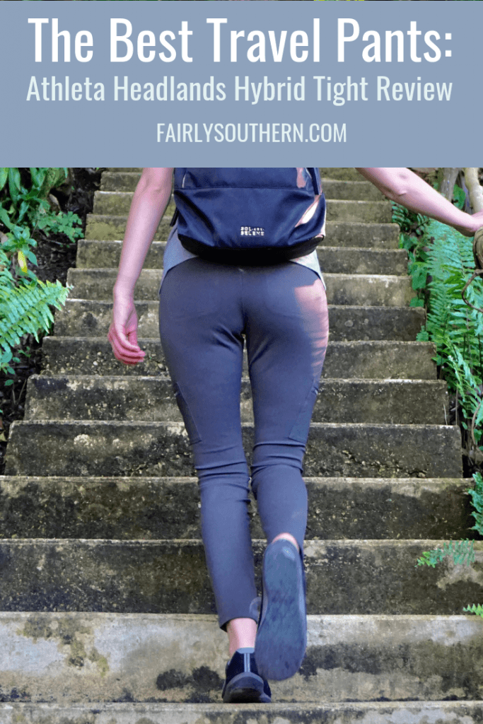 The Best Travel Pants: Athleta Headlands Hybrid Tight Review  |  Fairly Southern
