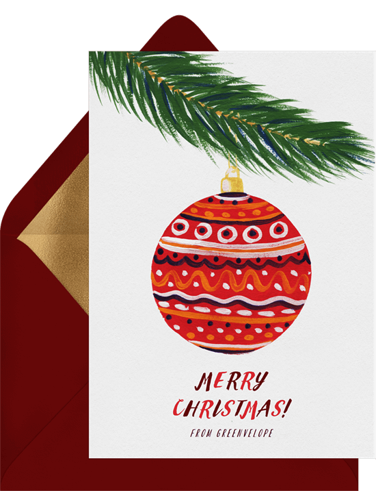 Cheery Ornament Card by Greenvelope | 10 Gorgeous & Sustainable Holiday Greeting E-Cards | Fairly Southern