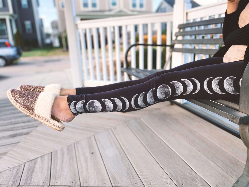 """Moon phase leggings & sparkly slippers - """"Self Love"""" Ethical and Sustainable Valentine's Day Outfit 