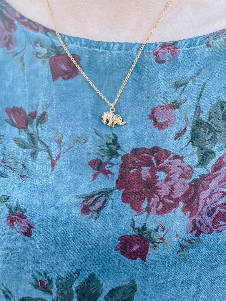 """Elephant charm necklace - """"Galentine's Day"""" Ethical and Sustainable Valentine's Day Outfit 
